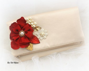 Clutch, Handbag, Bag, Purse, Maid of Honor, Mother of the Bride, Champagne, Red, Gold, Satin, Pearls, Lace, Elegant, Vintage