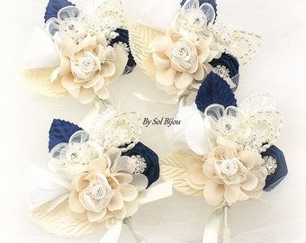 Navy Boutonnieres, Navy Blue Corsages, Groom, Groomsmen, Mother of the Bride, Ivory, Cream, Navy Blue, White, Pearls, Crystals, Elegant