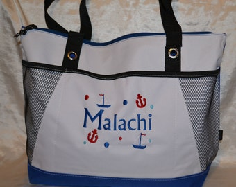 Personalized Tote bag, Diaper bag, Wedding Gift, Gym bag, Beach bag, reusable shopping tote.