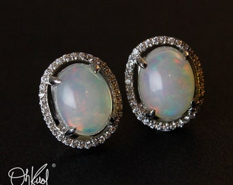 Australian Opal Stud Earrings - Pave Diamond Setting - White Opal, Post Setting, Luxury Earrings