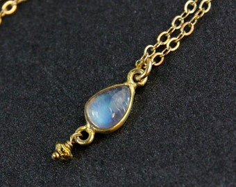 Petite Teardrop Rainbow Moonstone Necklace - 14K Gold Filled Chain