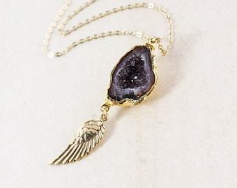 50% OFF SALE - Gold Tabasco Druzy & Angel Wing Necklace - 14K Gold Filled