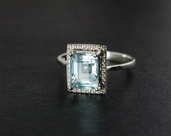 Aquamarine Engagement Ring - Pave Cubic Zerconia Setting - Choose Your Stone