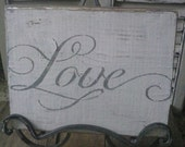 LOVE Wood Board Sign White Distressed with Grey Letters Great for Bride Baby Family