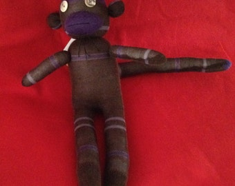 Purple and Brown Sock Monkey with button eyes