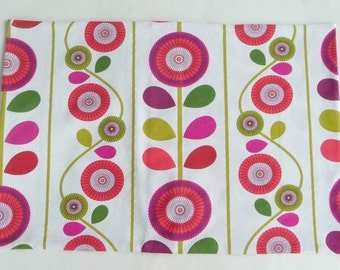 Standard Size Pillowcases - Cotton - MARIGOLD - Hand Made - UNIQUE - Pair - 60s Style - Mod - Modern - Red Plum White Green White - Floral