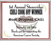 Chili Cook Off Printable Certificates