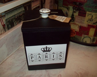 SHABBY black Paris canister box ,organizer box ,PARIS decor,FRENCH decor,Paris bedroom decor,Paris bathroom,shabby chic