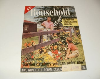 Vintage Household Magazine  January 1958- 15 Cent Cover Price - Art Scrapbooking Retro 1950s Ads