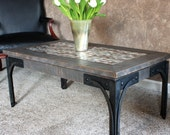 "Industrial Coffee Table, Aluminum Mosaic with Steel Legs, ""Piper's Mettle"", Distressed Gray Finish - Handmade"