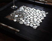 "RESERVED for Tracey // Custom Modern Ottoman Tray, Stainless Mosaic Centerpiece, ""Steel Pebbles"", Ebony Finish, 14 x 14, Handmade"