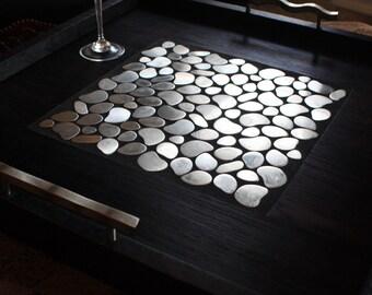 "Large Modern Ottoman Tray. Large Serving Tray. Stainless Ottoman Tray. Modern Tray. ""Stainless Pebbles"" Mosaic. 24 x 24. Ebony Finish."