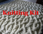 Ready to ship Knitting KIT - DIY Cable Me Crazy Chunky Cable Knit Blanket- everything you need - pattern - yarn - needles