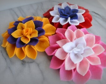 Felt Flower - Multi Color - Set of THREE - Custom, Handmade, Hair Clip, Brooch Pin, Embellishment, Crafting