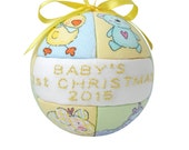 Yellow 2016 Babys First Christmas Ornament Baby Shower Gift Idea Christmas Tree Decoration Handmade Ornament  by CraftCrazy4U on Etsy