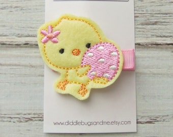 Yellow Chick Hair Clip, Easter Egg Chick Hair Clip, Girls Chick Hair Clip, Baby Hair Clip, Chick With Pink Bow Hair Clip, Easter Hair Clip