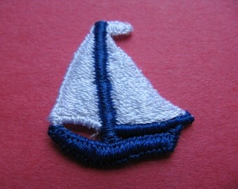 nautical sailboat patch vintage blue boat appliqué sailor jacket patch new old stock