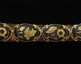 Damascene Bracelet, Flower and Leaf Design