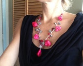 Statement Necklace Red Wire Wrapped