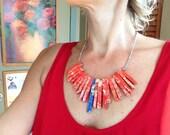 Red Jasper Sticks Red Blue Chunky Statement Necklace Gemstone Geometric