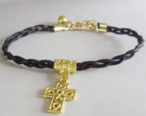 Pick Your  COLOR / SIZE - Hand Braided Leather Cord Bright Gold  Cross Charm On Gold Charm Holder W/ Gold Extension chain Usa 120