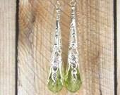 Peridot Green Crystal Drop Earrings, Long silver earrings, August birthstone,