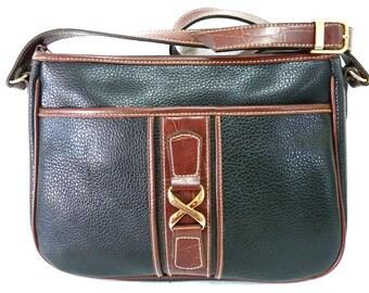 Vintage Black Leather Handbag by Carriage Club Shoulder Satchel Shoulder Bag