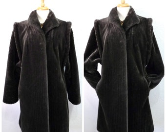 Faux Fur Coat Jacket Charcoal Grey Intrigue by Glenoit made in USA Warm Coat Large