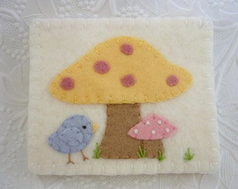 Felt Needle Book Bird Mushroom Case Pinkeep Needlebook Pins Primitive Quilter