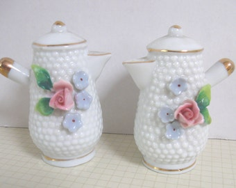 Vintage Floral Coffee Pots Salt and Pepper Shakers