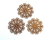 3 Large Vintage 1950s Flowers // 60s 50s Flower Finding  // Brass // Craft Jewelry Supply // Rhinestone setting
