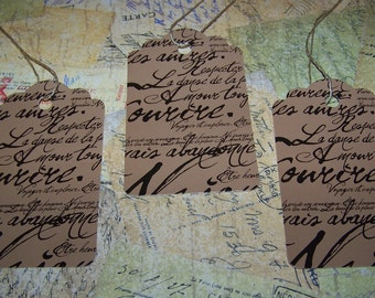 Tags-Scalloped Paris Script Tags-18 Decorative Tags-Hang Tags-Price Tags-Size-2 3/4 inches x 3 1/4 inch-With String