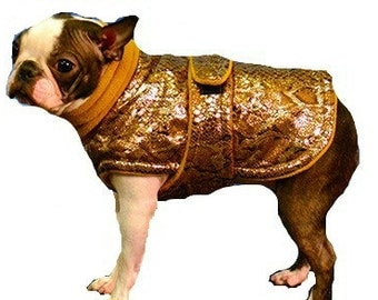 Designer Boston Terrier Coat, custom made with turtleneck or snood just for your dog