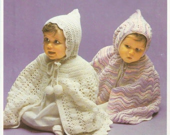 Baby cape pattern one to knit and one to crochet