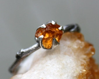 Citrine gemstone ring branch ring-sterling silver-handmade rough stone-raw uncut-November birthstone ring-made to order.