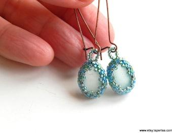 Mermaid Tears  -  Organic Genuine Amalfi clear Sea Glass earrings