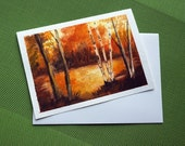 Three Birches - Hand Painted landscape Greeting Card