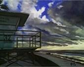 California Painting - 12x9 inch Oil Painting of Laguna Beach Lifeguard Tower