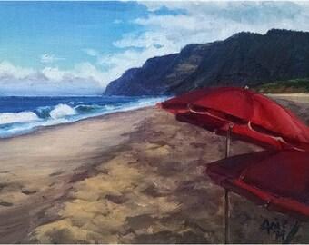 Kauai Beach Original Oil Painting - 12x9in