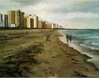 Miami Beach - 30x16in Original Oil Painting On Sale