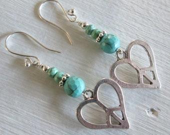 Turquoise Love/Peace Earrings - Bohemian Style Jewelry