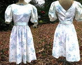 Lanz Originals 80s Dress/ Vintage Dress /Floral Dress/ 80s Party Dress with Puffed Sleeves in The Palest of Blue and White Size 0