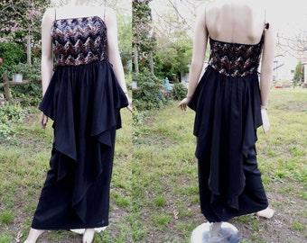 Sale 30% OFF Vintage Designer Dress by Vera Mount, 80s Prom Dress, Strapless Dress, 80s Dress, Peplum Dress, Metallic Dress Size 8