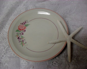 """Shabby Cottage Chic 7 1/4"""" Salad Cake Plate 10 Strawberry Street Pink Roses"""