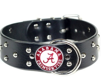 "2"" Black Leather Crimson Tide Dog Collar - Studded Roll Tide Dog Collar -  Crimson Tide"