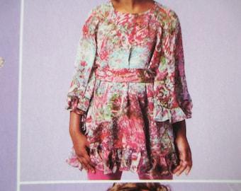 Girls' Top, Dresses and Belt Pattern, Sizes 3, 4, 5, 6, Uncut
