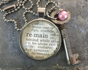 One Word Pendant with Vintage Key - Remain