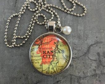 Map Pendant Necklace Kansas City Kansas KS
