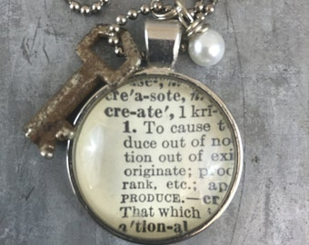 One Word Dictionary Necklace- Create with Vintage Key