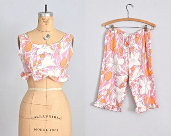 vintage 1960s top and pants set • 60s loungewear • mode o'day • blouse and pants • xs small